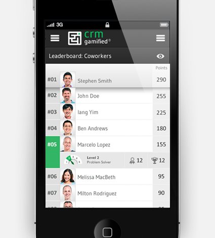 CRMGamified Leaderboard in the new native mobile apps!