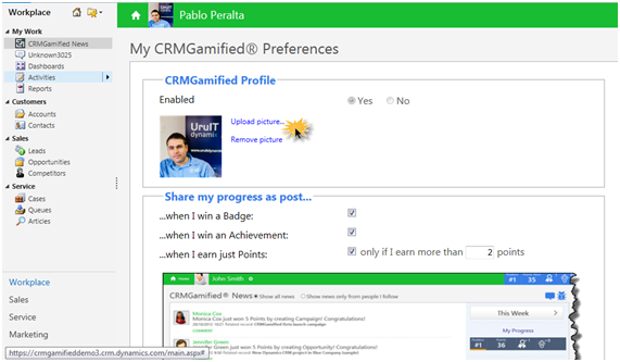 10 - The new 'My CRMGamified Preferences' page. Setting up your profile picture...