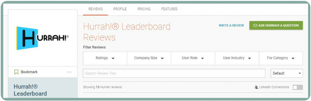 Hurrah! Leaderboards Reviews Page at G2Crowd